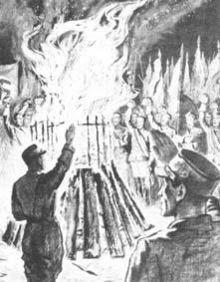 Bild zeigt ein Plakat über die Verbrennung von Büchern
