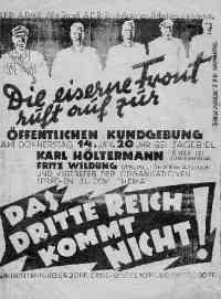 Bild zeigt ein Aktionsplakat der Nazis über die eiserne Front