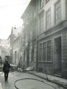 Bild zeigt die zerstörte Synagoge in der Kolpingstraße in Bremen an