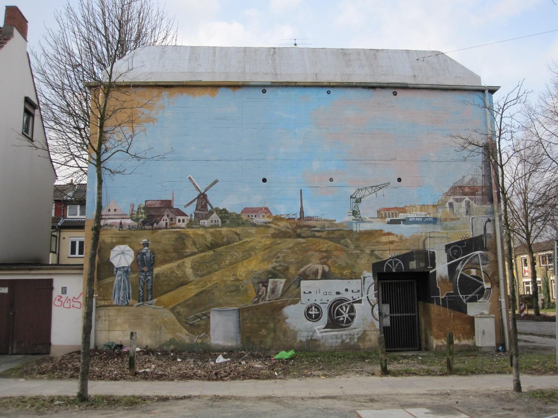 Das Bild zeigt die Bemalung des Bunkers auf der Seite Pastorenweg in der Grasberger Straße