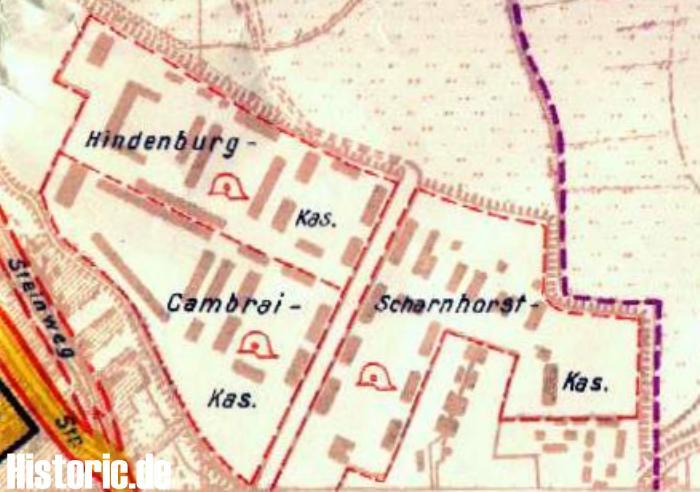 Das Bild zeigt den Lageplan des ehemaligen Kasernengebäudes
