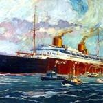 Das Bild zeigt ein gemaltes Schiff