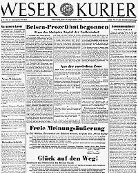 Das Bild zeit den Bremer Weser Kurier