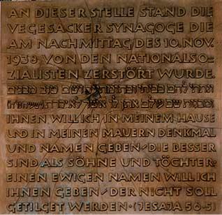 Das Bild zeigt eine Gedenktafel für die ermordeten Juden in Bremen Nord
