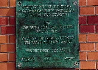 Dieses Bild zeigt die Gedenktafel am Hauptbahnhof Bremen