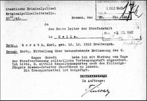 Dieses Bild zeigt eine Überführungsanweisung, Dezember 1942