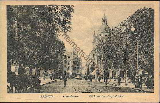 Das Bild zeigt den Blick vom Herdentor in die Sögestraße um 1900