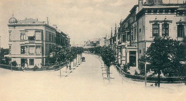 Das Bild zeigt die Parkstraße von der Schwachhauser Heerstraße um 1900