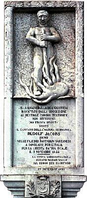 Dieses Bild zeigt das Mahnmal für Rudolf Jacobs in Sarazana, Italien