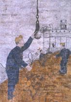 Dieses Bild zeigt eine restaurierte Freske im Ulrich Schuppen