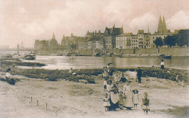 Das Bild zeigt den Blick zum Maritinianleger Tiefer um 1920
