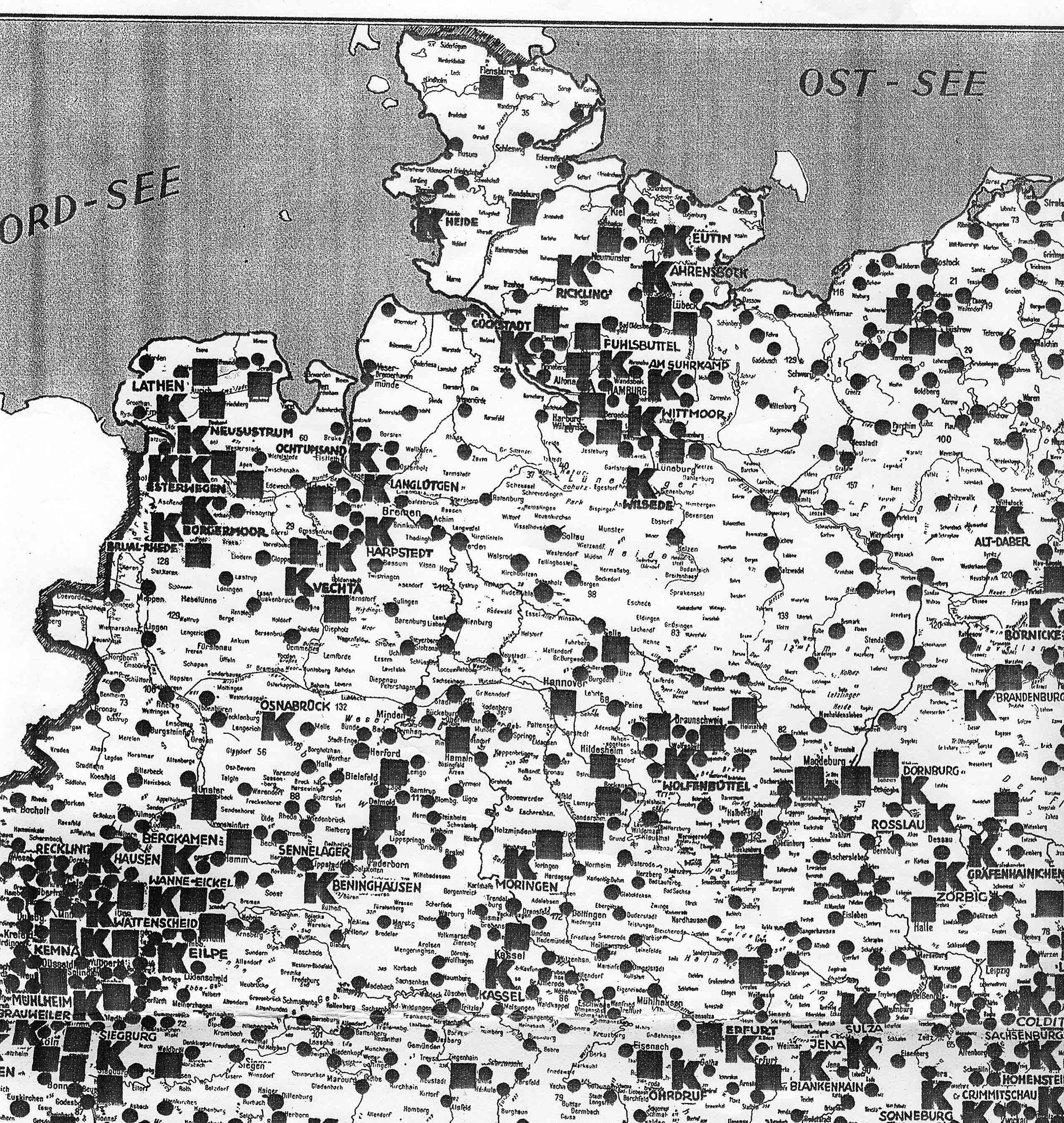 Bild zeigt einen detaillierteren Ausschnitt von West-Deutschland über damalige Konzentrationslager, Zuchthäuser und Gefängnisse