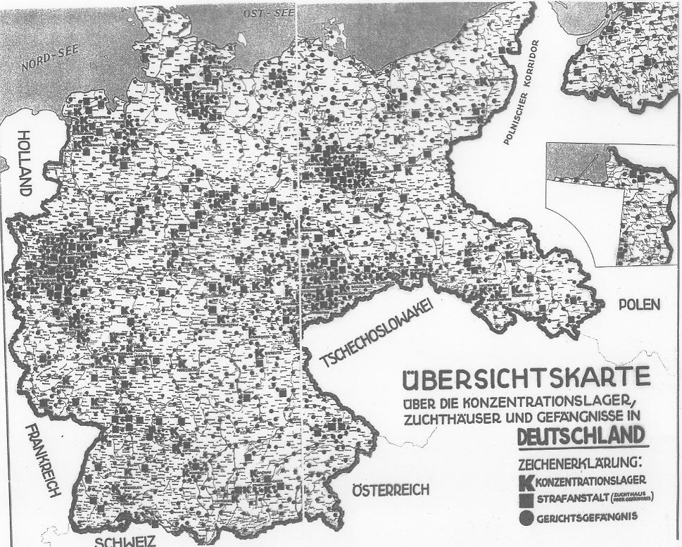 Dieses Bild zeigt eine Übersichtskarte über Konzentrationslager, Zuchthäuser und Gefängnissen in Deutschland