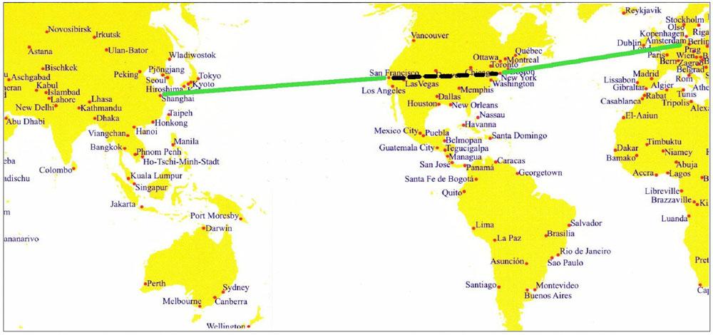 Bild über die Route von Shanghai nach Bremen