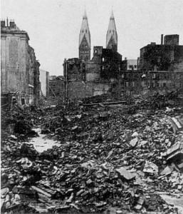 Foto der zerstörten Innenstadt, Bremen