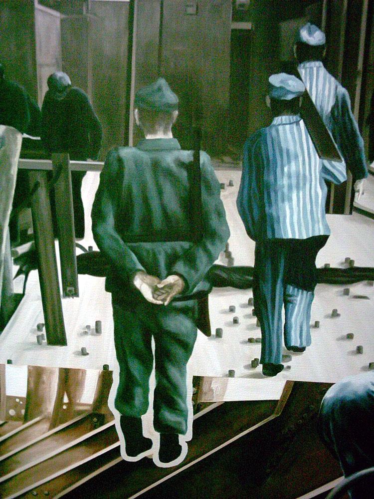 Dieses Bild zeigt ein Wandgemälde von Zwangsarbeitern auf der Werft, von Peter John 1989