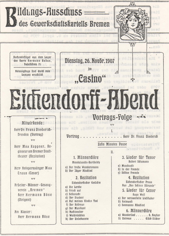 Dieses Bild zeigt das Programm eines Liederabends von 1907