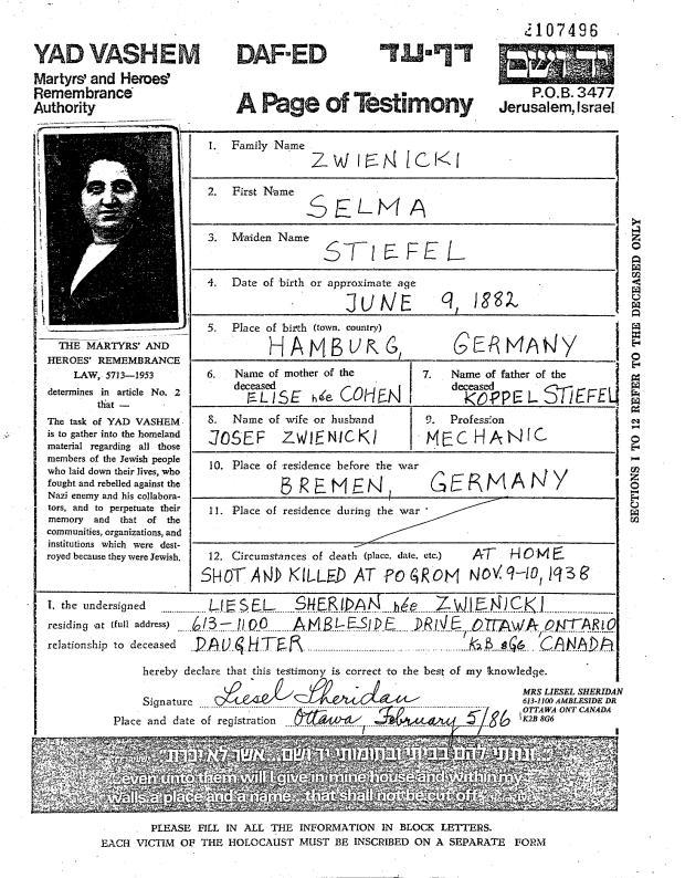 Dieses Bild zeigt die Sterbeurkunde von Selma Zwienickis