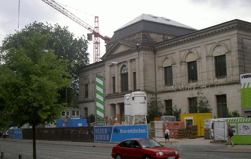 Das Bild zeigt Umbauarbeiten an der Kunsthalle in Bremen